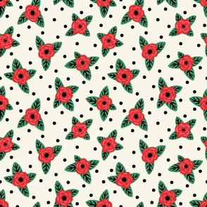 Polka Dots & Roses (Large Scale)
