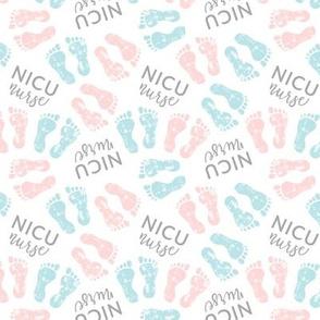 (small scale) NICU nurse - multi baby feet - pink & blue - nursing - LAD20
