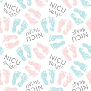 NICU nurse - multi baby feet - pink & blue - nursing - LAD20