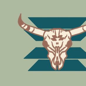 Fat Quarter Panel Longhorn Skull on Sage
