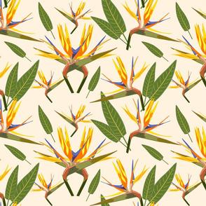 Birds of Paradise - Tropical Strelitzia #2 Creamy Beige, large
