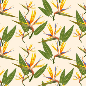 Birds of Paradise - Tropical Strelitzia #4 Creamy Beige, large