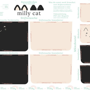 milly mint pencil case and small purse pattern milly cat