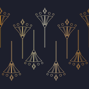 Art Deco Style inspired Gold Effect Floral Line Art on Navy Blue seamless pattern background.