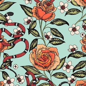 Roses and snakes. Mint