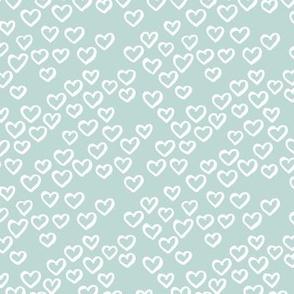 Little love dream minimal hearts ink sketch raw brush valentine design sage green SMALL