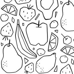 Black and white fruits design