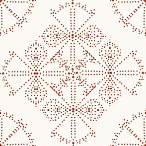 Delicate Dotty Fans - Rust and Cream
