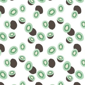 Fresh kiwi garden Scandinavian style fruit design white green mint small