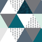 teal, gray, mint, and arrows wholecloth