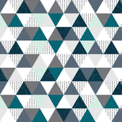 """2"""" triangles: teal, gray, mint, and arrows"""