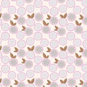 Summer boho citrus garden little lime and orange slices minimal fruit design forest soft gray pink SMALL