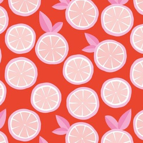 Summer boho citrus garden little lime and orange slices minimal fruit design tangerine red pink