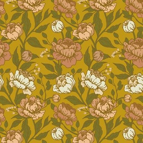 Chintz floral on ochre - Small