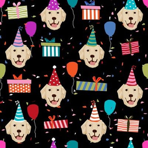 golden retriever birthday fabric - dog birthday, dog fabric, golden retriever dog  - black
