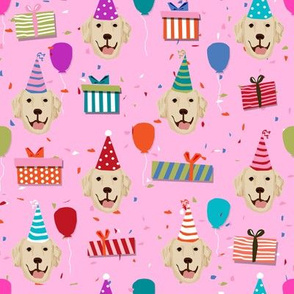 golden retriever birthday fabric - dog birthday, dog fabric, golden retriever dog - pink