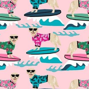 golden retriever surfing fabric - dog surfing fabric, surfing fabric, dog fabric - pink
