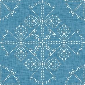 Delicate Dotty Fans  - denim blue