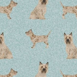 cairn terrier dog fabric - dog fabric, terrier fabric, cairn dog - blue