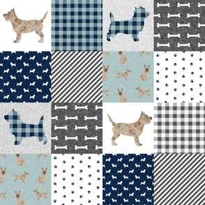 cairn terrier dog quilt, patchwork, cairn terrier cheater quilt - patchwork navy