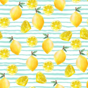 lemon watercolor fabric - watercolor fabric, citrus fruit fabric, lemons fabric, lemon -  mint stripe