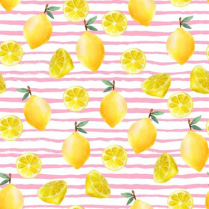 lemon watercolor fabric - watercolor fabric, citrus fruit fabric, lemons fabric, lemon -  pink stripe