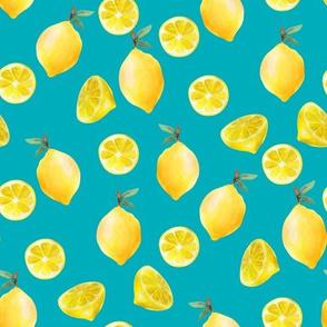 lemon watercolor fabric - watercolor fabric, citrus fruit fabric, lemons fabric, lemon - teal