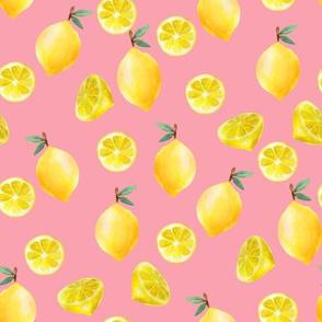 lemon watercolor fabric - watercolor fabric, citrus fruit fabric, lemons fabric, lemon -  pink