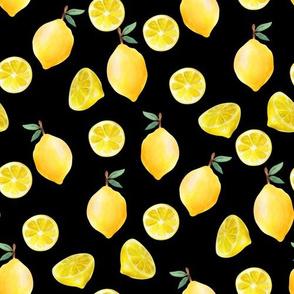 lemon watercolor fabric - watercolor fabric, citrus fruit fabric, lemons fabric, lemon -  black