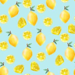 lemon watercolor fabric - watercolor fabric, citrus fruit fabric, lemons fabric, lemon -  light blue