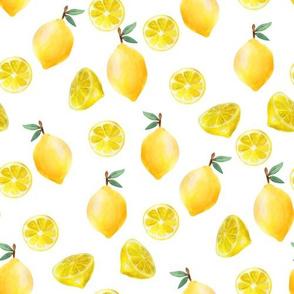 lemon watercolor fabric - watercolor fabric, citrus fruit fabric, lemons fabric, lemon - white