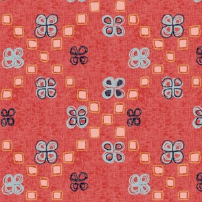 Moroccan rug in bold red and pastels