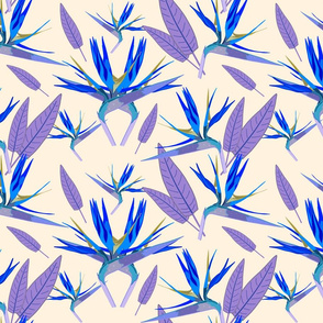 Birds of Paradise - Tropical Strelitzia #3 Blues on Creamy Beige, large