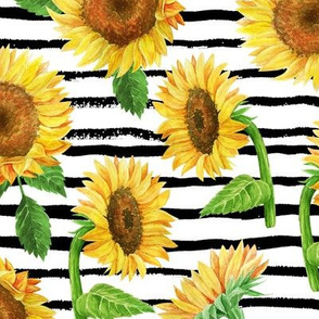 LARGE sunflower watercolor fabric - watercolor fabric, sunflowers fabric, floral fabric, nursery fabric, baby girl fabric - black stripe