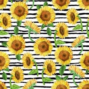 sunflower watercolor fabric - watercolor fabric, sunflowers fabric, floral fabric, nursery fabric, baby girl fabric - black stripe