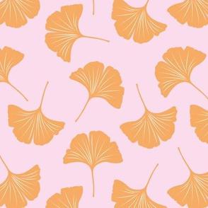 Minimal love gingko leaf garden japanese botanical spring leaves pink orange
