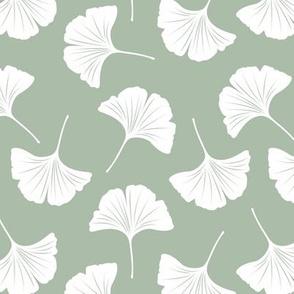 Minimal love gingko leaf garden japanese botanical spring leaves soft neutral nursery sage green