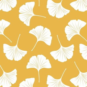 Minimal love gingko leaf garden japanese botanical spring leaves soft neutral nursery white ochre yellow