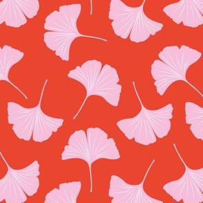 Minimal love gingko leaf garden japanese botanical spring leaves soft girls nursery red pink