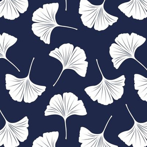 Minimal love gingko leaf garden japanese botanical spring leaves soft neutral nursery navy blue