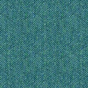 faux tweedy teal herringbone tweed