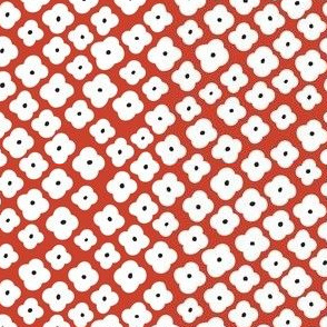 Ditsy Floral, red & white