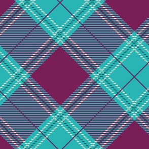 Magenta Teal Diagonal Plaid V01