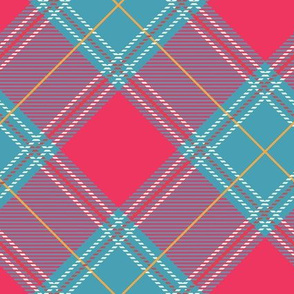 Teal Pink Diagonal Plaid V01