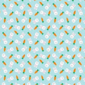 (micro scale) bunnies and carrots - blue - easter spring - c20bs
