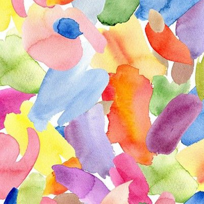 Watercolor multicolor stains brush strokes paint spots