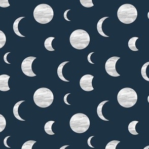 Moon phase universe mystic dreamy night nursery navy blue gray