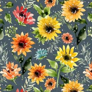 Wild Sunflowers // Denim Blue