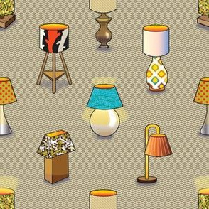 Lamps on a Textured Background, Living Room Pillow or Cushion Cover