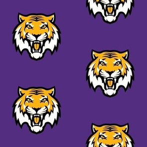 tigers fabric, tiger fabric - louisiana fabric, purple and yellow fabric, purple and gold